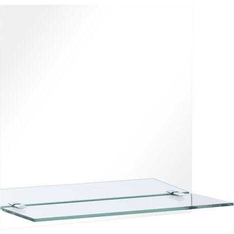Espejo de pared con estante de vidrio templado 30x30 cm
