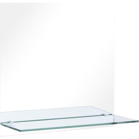 Espejo de pared con estante de vidrio templado 60x60 cm