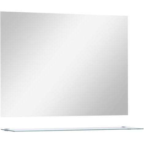 Espejo de pared con estante de vidrio templado 80x80 cm
