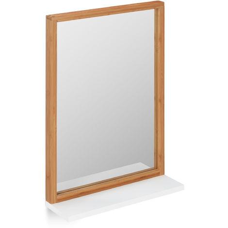 Espejo de pared con estante, Marco de madera, Bambú y MDF, Marrón y blanco