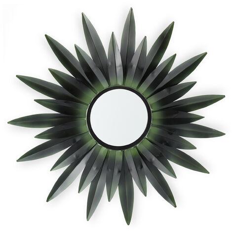 Espejo de pared con forma de sol, Diseño B, Redondo, Para colgar, Metal, 1 Ud., Verde oscuro