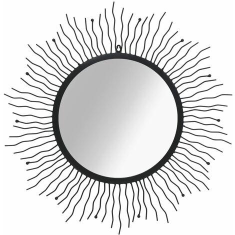 Espejo de pared con forma de sol radiante 80 cm negro