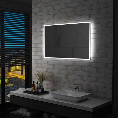 Espejo de pared de baño con LED 100x60 cm