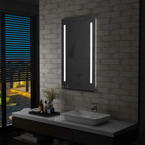 Espejo de pared de baño con LED y estante 60x100 cm