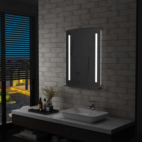 Espejo de pared de baño con LED y estante 60x80 cm