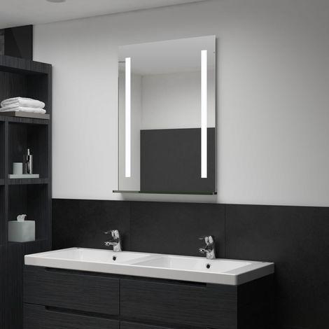 Espejo de pared de baño con LED y estante 60x80 cm