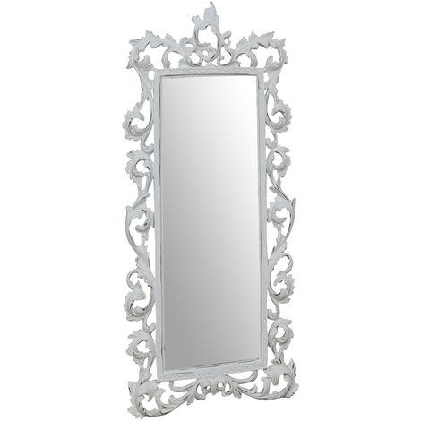 Espejo de pared de colgar 23x2x50 cm acabado con efecto blanco envejecido