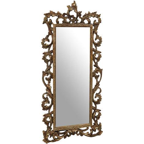 Espejo de pared de colgar 23x2x50 cm acabado con efecto oro envejecido