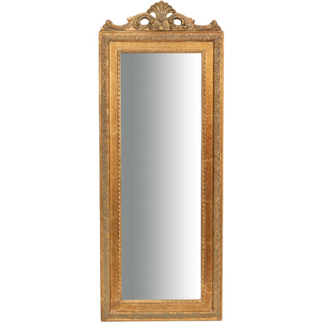 Espejo de pared de colgar 35x2x90 cm con efecto oro envejecido