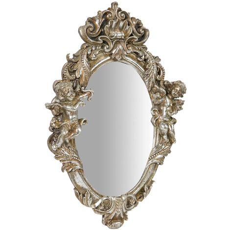 Espejo de pared de colgar 37x6x39 cm acabado con efecto plata envejecido