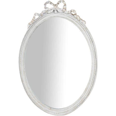 Espejo de pared de colgar de colgar acabado con efecto blanco envejecido