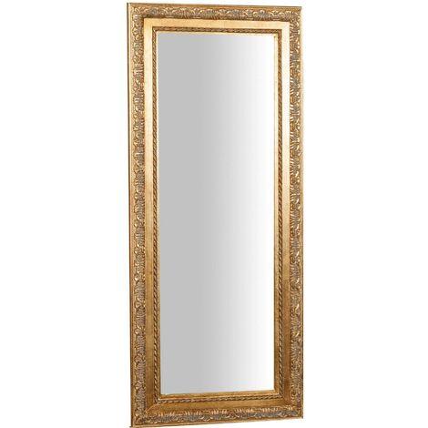 Espejo de pared de colgar de colgar horizontal/vertical 35x2x82 cm acabado con efecto oro envejecido