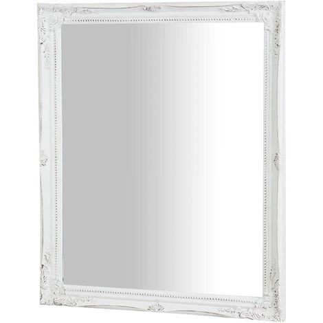 Espejo de pared de colgar de colgar vertical/horizontal 47x3x57 cm acabado con efecto blanco envejecido