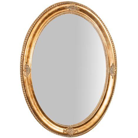 Espejo de pared de colgar de colgar vertical/horizontal 64x3x84 cm acabado con efecto oro envejecido
