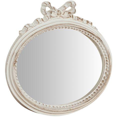 Espejo de pared de colgar de madera acabado con efecto blanco envejecido talla L28xPR3xH27 cm Made in Italy