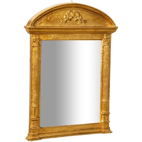 Espejo de pared de colgar DE MADERA ACABADO DORADO ENVEJECIDO HECHO EN ITALIA