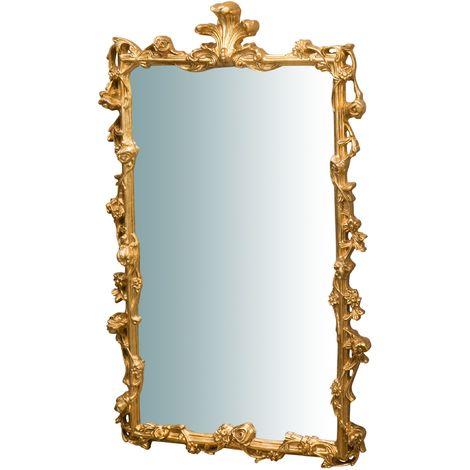 Espejo de pared de colgar de madera, acabado en marfil y en pan de oro envejecido (cm: 59 x 6 x 98). Made in Italy
