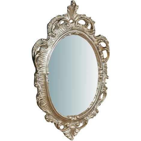 Espejo de pared de colgar de madera, acabado en pan de plata envejecido (cm: 30 x 2 x 19). Made in Italy