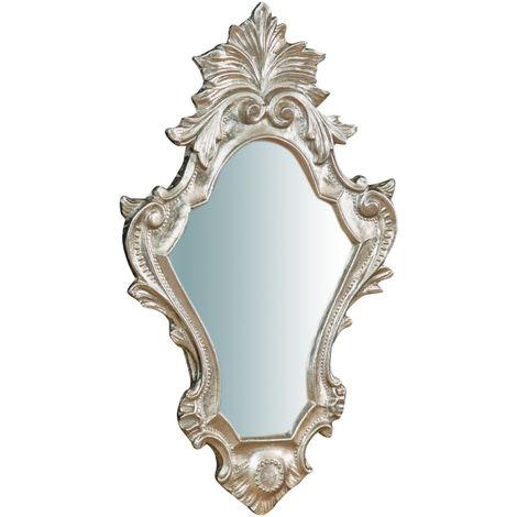 Espejo de pared de colgar de madera, acabado en pan de plata envejecido (cm: 41 x 3 x 25). Made in Italy