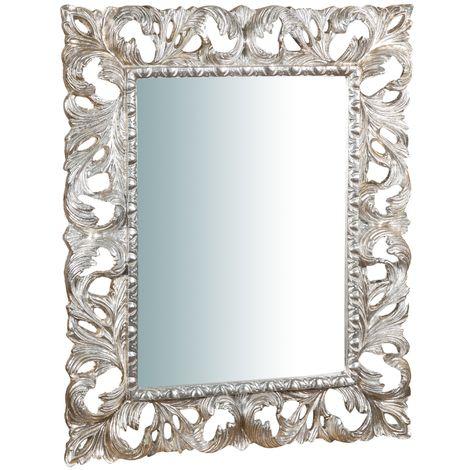 Espejo de pared de colgar de madera, acabado en pan de plata envejecido (cm: 82 x 6 x 101). Made in Italy