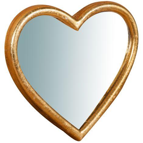 Espejo de pared de colgar de madera acabado hoja con efecto oro envejecido talla L18XPR1,5XH20 cm Made in Italy