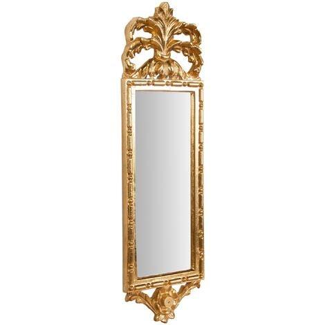 Espejo de pared de colgar de madera acabado hoja con efecto oro envejecido talla L19xPR3xH65 cm Made in Italy