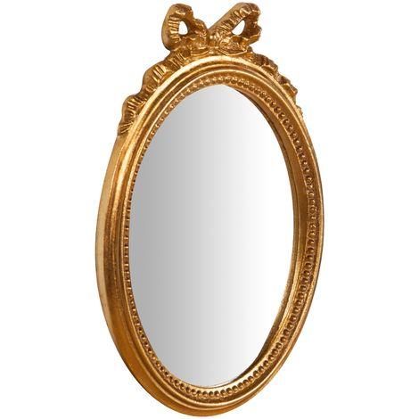 Espejo de pared de colgar de madera acabado hoja con efecto oro envejecido talla L22xPR2,5xH32 cm Made in Italy