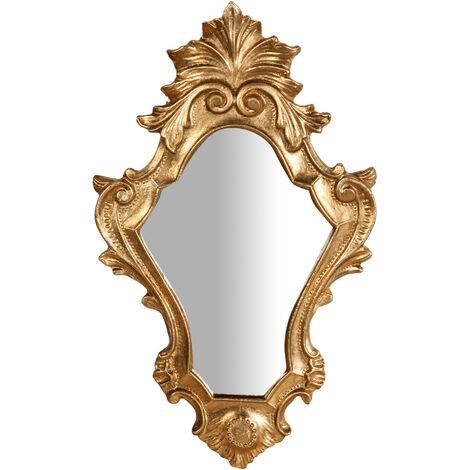Espejo de pared de colgar de madera acabado hoja con efecto oro envejecido talla L25xPR2,5xH40 cm Made in Italy