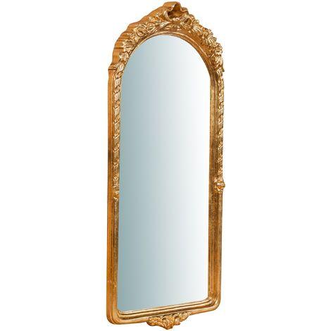 Espejo de pared de colgar de madera acabado hoja con efecto oro envejecido talla L28XPR3,5XH69 cm Made in Italy