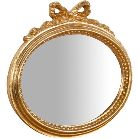 Espejo de pared de colgar de madera acabado hoja con efecto oro envejecido talla L28xPR3xH27 cm Made in Italy