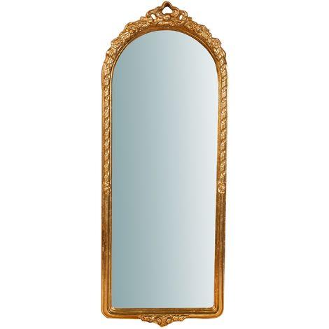 Espejo de pared de colgar de madera acabado hoja con efecto oro envejecido talla L34XPR4XL87 cm Made in Italy