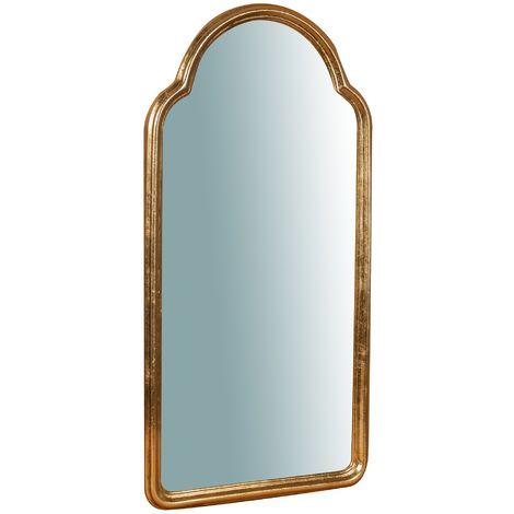 Espejo de pared de colgar de madera acabado hoja con efecto oro envejecido talla L40XPR2XH79 cm Made in Italy