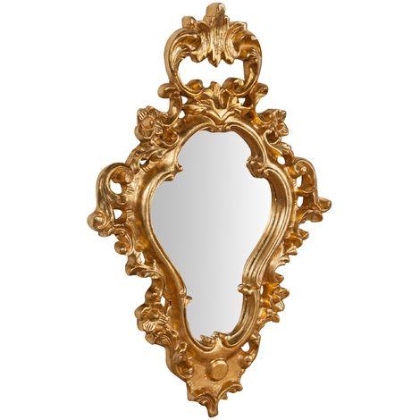 Espejo de pared de colgar de madera acabado hoja con efecto oro envejecido talla L42xPR5,5xH62 cm Made in Italy
