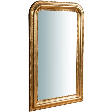 Espejo de pared de colgar de madera acabado hoja con efecto oro envejecido talla L43XPR3,5XH69 cm Made in Italy