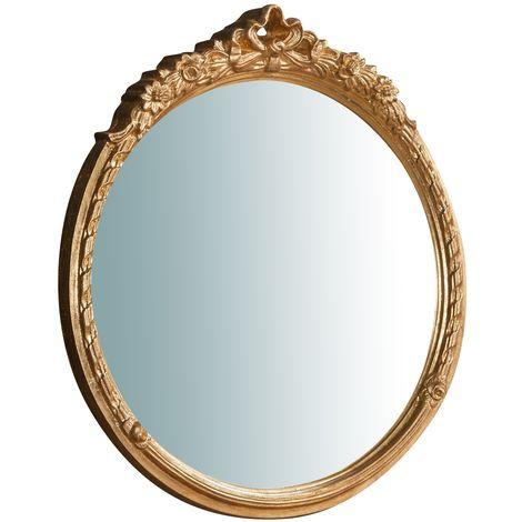 Espejo de pared de colgar de madera acabado hoja con efecto oro envejecido talla L50XPR4XH54 cm Made in Italy