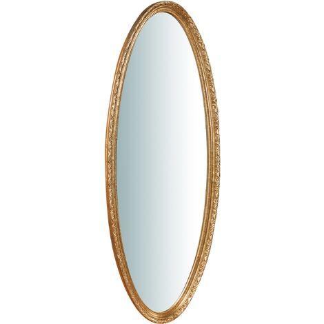 Espejo de pared de colgar de madera acabado hoja con efecto oro envejecido talla L52XPR4,5XH133 cm Made in Italy