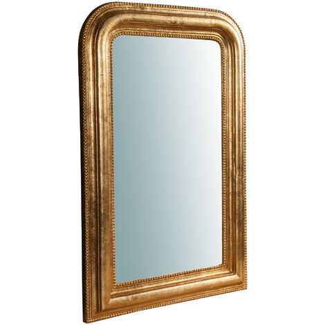 Espejo de pared de colgar de madera acabado hoja con efecto oro envejecido talla Made in Italy