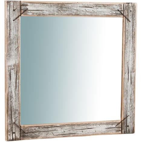 Espejo de pared de colgar de madera maciza L60XPR2XH60 cm