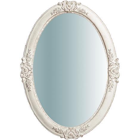 Espejo de pared de colgar de madera vertical/horizontal acabado con efecto blanco envejecido OVALE Made in Italy
