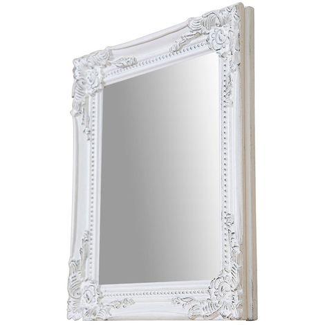 Espejo de pared de colgar vertical/horizontal 27x3x32 cm acabado con efecto blanco envejecido