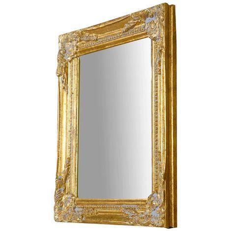 Espejo de pared de colgar vertical/horizontal 27x3x32 cm acabado con efecto oro envejecido