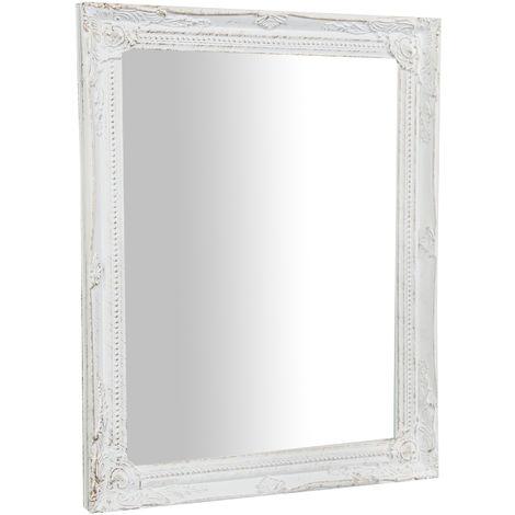 Espejo de pared de colgar vertical/horizontal 36,5x3x47 cm acabado con efecto blanca envejecida