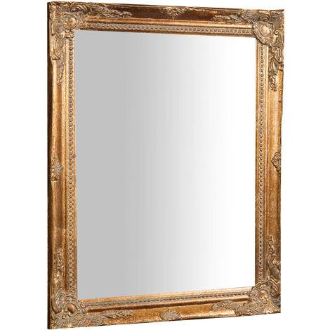 Espejo de pared de colgar vertical/horizontal 36,5x3x47 cm acabado dorado envejecido