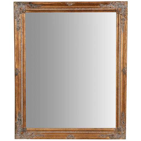 Espejo de pared de colgar vertical/horizontal 47x3x57 cm con efecto oro envejecido