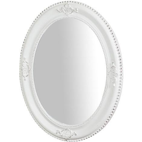 Espejo de pared de colgar vertical/horizontal 54x3x64 cm acabado con efecto blanco envejecido