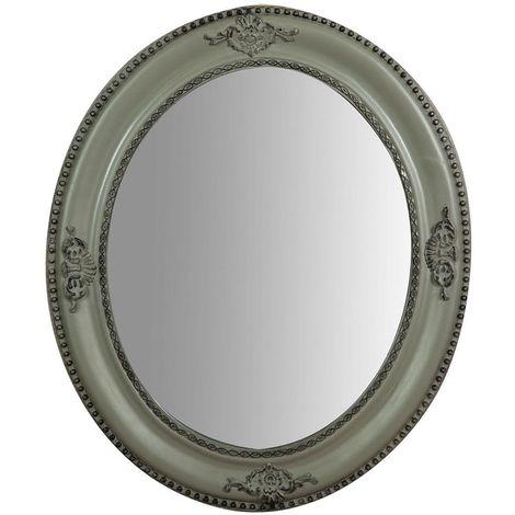 Espejo de pared de colgar vertical/horizontal 54x3x64 cm acabado con efecto gris envejecido
