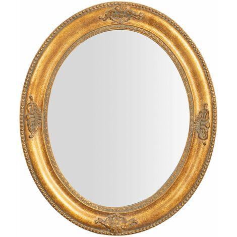 Espejo de pared de colgar vertical/horizontal 54x3x64 cm acabado con efecto oro envejecido