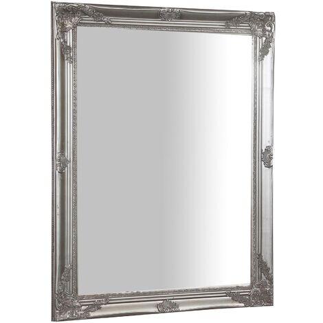 Espejo de pared de colgar vertical/horizontal 62x3x82 cm acabado con efecto plata envejecido