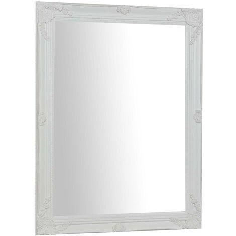 Espejo de pared de colgar vertical/horizontal 62x3x82 cm con efecto blanco envejecido