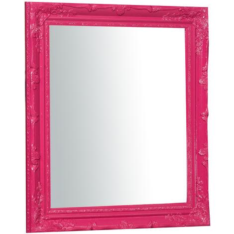 Espejo de pared de colgar vertical/horizontal 64x4x74 cm acabado con efecto fucsia l